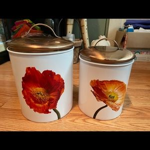 Canisters for kitchen w/ Poppy flower,metal  NWT